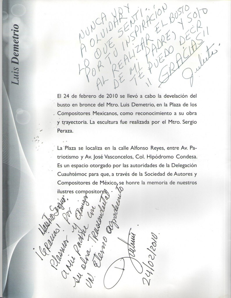 Hijos de Luis Demetrio Testimonial al Maestro Sergio Peraza