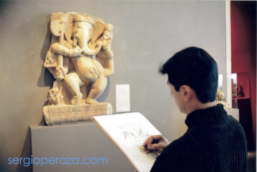 Dibujando a Ganesha en el Philadelphia Museum Of Art 1997