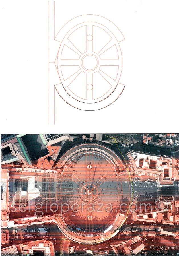 Primer plano comparativo de la Plaza de san Pedro para la Elipse de la Stella Maris