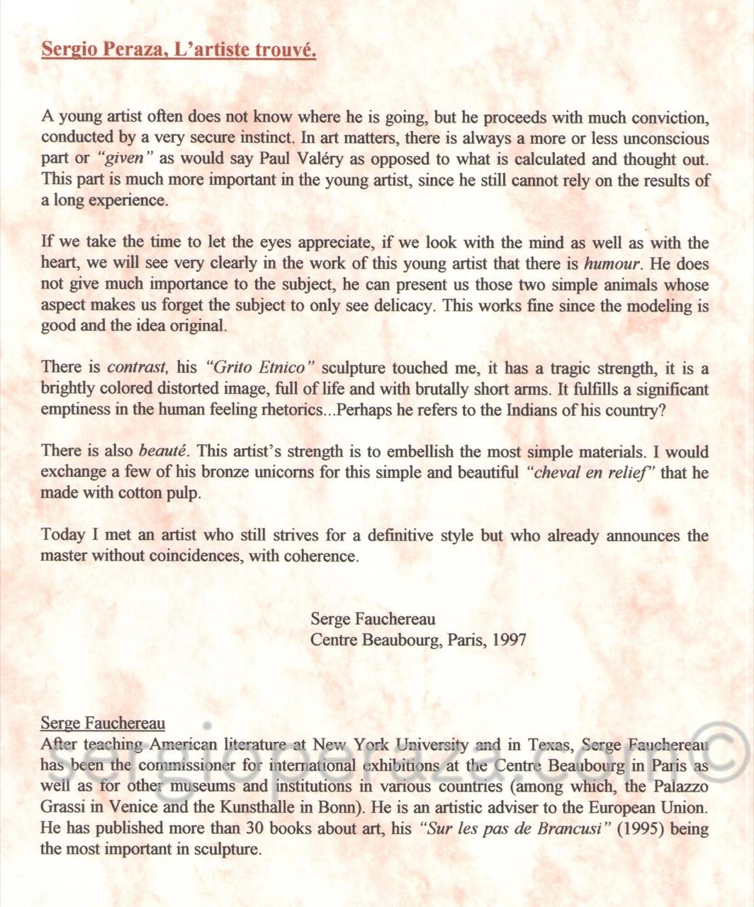Texto En Ingles Critico De Arte Serge Fauchereau Sergio Peraza Artista Escultor