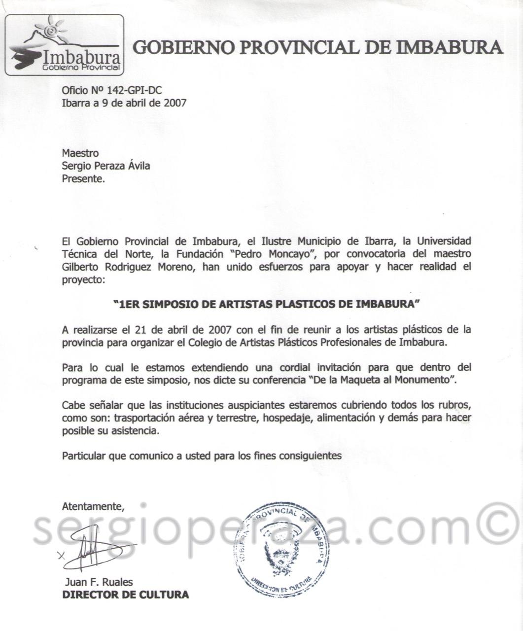 Carta Ecuador Sergio Peraza Artista Escultor